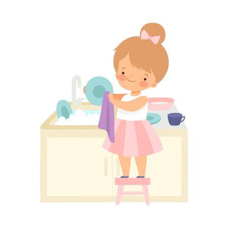Bambina sveglia in piedi sulla sedia e lavare i piatti, adorabile bambino che fa le faccende domestiche a casa illustrazione vettoriale su sfondo bianco.