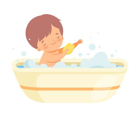 Boy Washing Himself with Sponge in Bathtub Full of Foam, Adorable Little Kid in Bathroom, Daily Hygiene Vector Illustration on White Background. Illustration
