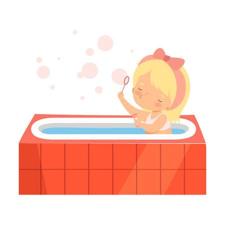 Cute Girl Taking Bath and Playing with Soap Bubbles, Adorable Little Kid in Bathroom, Daily Hygiene Vector Illustration on White Background. Ilustracja