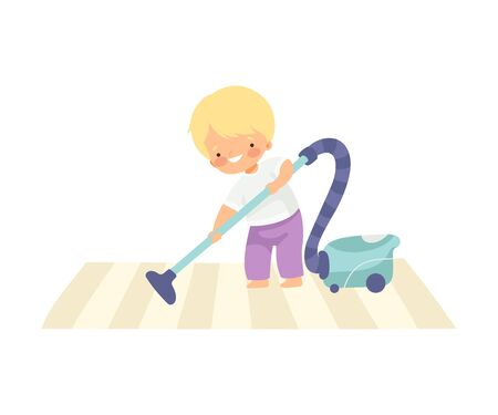 Cute Boy Vacuuming Carpet, Adorable Kid Doing Housework Chores at Home Vector Illustration on White Background.