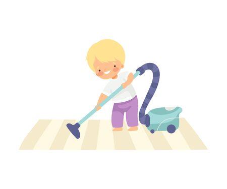 Ragazzo carino aspirapolvere tappeto, ragazzo adorabile che fa le faccende domestiche a casa illustrazione vettoriale su sfondo bianco.