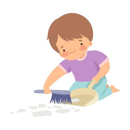 Chico lindo con cepillo y recogedor barriendo basura, adorable niño haciendo tareas domésticas en casa ilustración vectorial sobre fondo blanco.