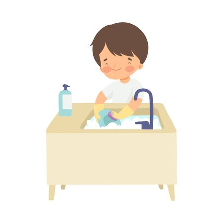 Garçon mignon lavant la vaisselle, adorable enfant faisant des tâches ménagères à la maison Illustration vectorielle sur fond blanc. Vecteurs