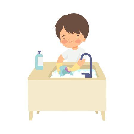 Schattige jongen afwas, schattig kind huishoudelijk werk doen thuis vectorillustratie op witte achtergrond. Vector Illustratie