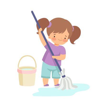 Ładna dziewczyna mycie podłogi z wiaderkiem i mopem, urocze dziecko robi prace domowe w domu wektor ilustracja na białym tle.