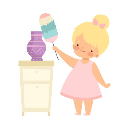 Cute Little Girl with Duster Cleaning Vase, Adorable Kid Doing Housework Chores at Home Vector Illustration on White Background.