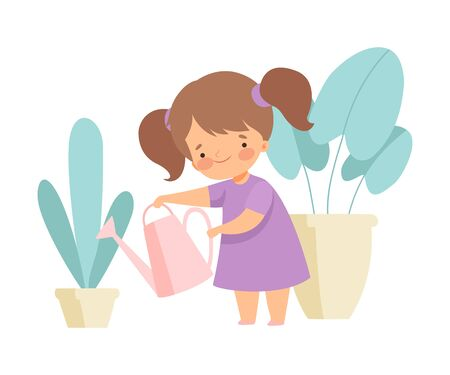 Cute Girl Watering Houseplants, Adorable Kid Doing Housework Chores at Home Vector Illustration on White Background.