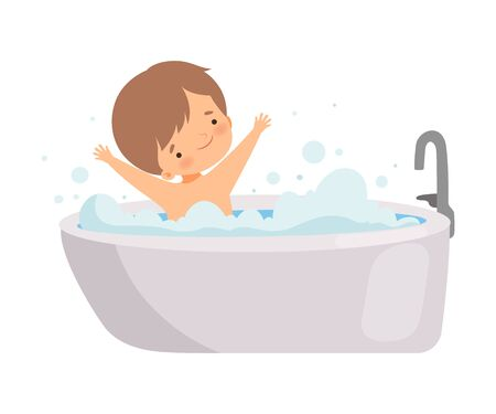 Cute Happy Little Boy Taking Bath in Bathtub Full of Foam, Adorable Kid in Bathroom, Daily Hygiene Vector Illustration on White Background.