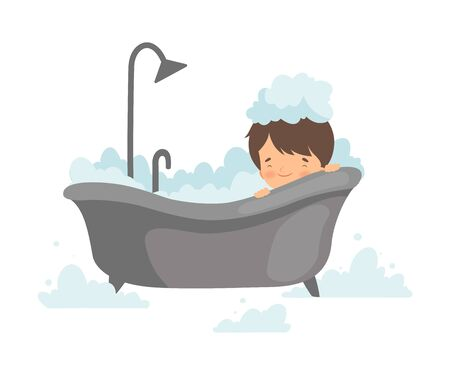 Cute Boy Taking Bath with Foam, Adorable Little Kid in Bathroom, Daily Hygiene Vector Illustration on White Background.