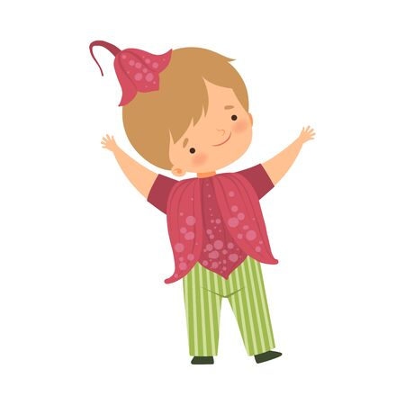 Cute Little Boy Wearing Dark Pink Flower Costume and Cap, Adorable Kid in Carnival Clothes Vector Illustration on White Background.