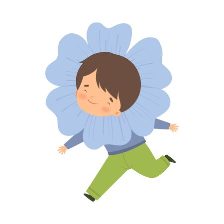Cute Little Boy Wearing Light Blue Flower Costume, Adorable Kid in Carnival Clothes Vector Illustration on White Background. Illustration