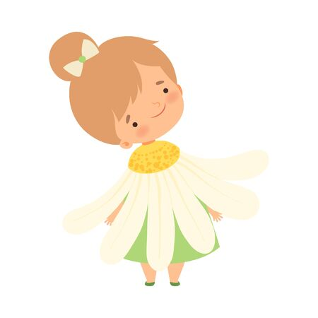 Pretty Little Girl Wearing Chamomile Flower Costume, Cute Adorable Kid in Carnival Clothes Vector Illustration on White Background.