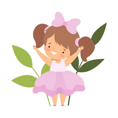 Pretty Little Girl Wearing Pink Flower Costume, Happy Adorable Kid in Carnival Clothes Vector Illustration on White Background.