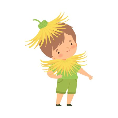 Cute Little Boy Wearing Dandelion Flower Costume, Adorable Kid in Carnival Clothes Vector Illustration on White Background.