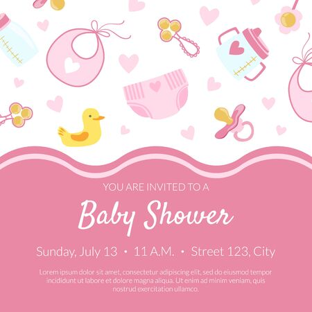 Baby Shower Invitation Banner Template, Pink Card with Newborn Baby Symbols Seamless Pattern and Place for Text Vector Illustration, Web Design.