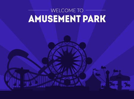 Welcome to Amusement Park Banner Template, Night Carnival Funfair Poster with Ferris Wheel and Roller Coaster Silhouettes Park Attractions Vector Illustration