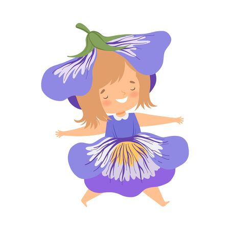 Pretty Little Girl Wearing Cobalt Blue Flower Costume, Happy Adorable Kid in Carnival Clothes Vector Illustration on White Background.
