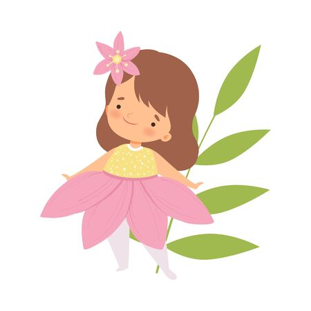 Cute Little Girl Wearing Pink Flower Costume, Adorable Kid in Carnival Clothes Vector Illustration on White Background.