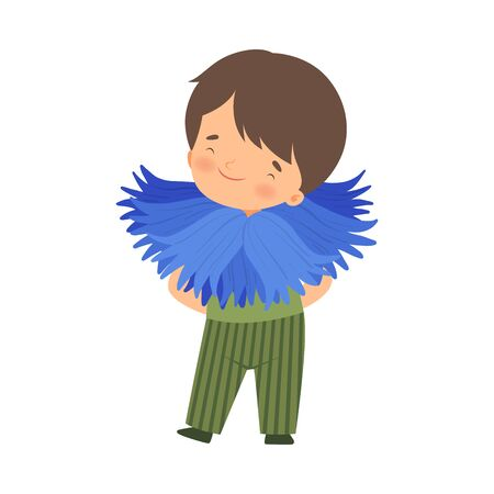 Cute Little Boy Wearing Cornflower Flower Costume, Adorable Kid in Carnival Clothes Vector Illustration on White Background. Ilustracja