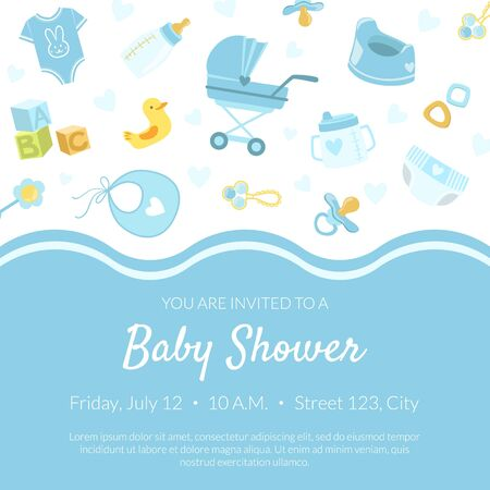 Baby Shower Invitation Banner Template, Light Blue Card with Newborn Baby Symbols Seamless Pattern and Place for Text Vector Illustration, Web Design. Иллюстрация