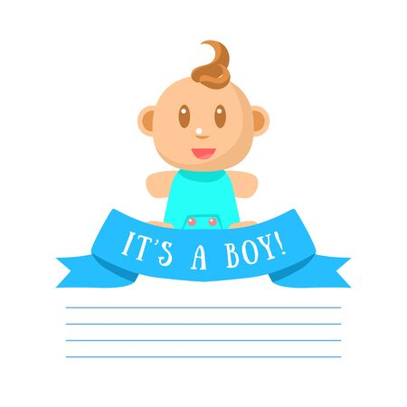 Its Boy Invitation Card Banner Template with Cute Little Baby Boy and Place for Text Vector Illustration, Web Design.