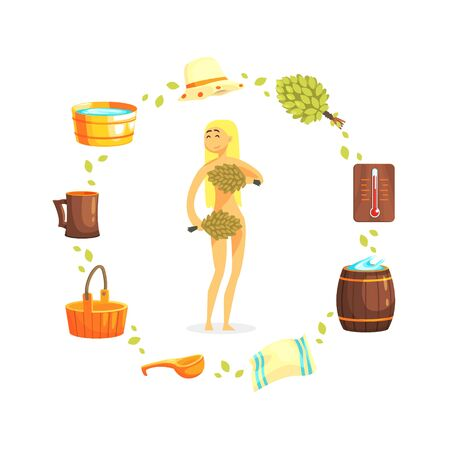 Young Woman Relaxing at Spa, Girl with with Bunches of Birch Tree Twigs, Sauna and Russian Bathhouse Accessories Vector Illustration Illusztráció