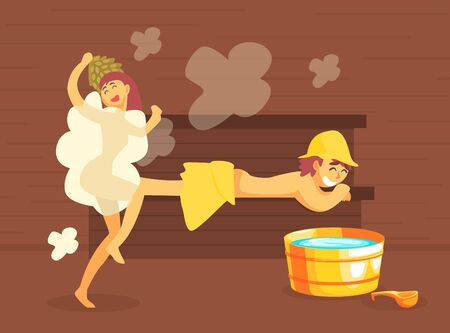 Man and Woman Bathing in Wooden Bathhouse or Sauna Full of Steam, Girl Washing Her Body Vector Illustration, Web Design. 일러스트