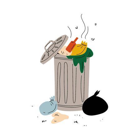 Immondizia piena di spazzatura in decomposizione, trattamento e utilizzo dei rifiuti, illustrazione vettoriale di problema ecologico