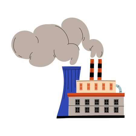 Pollutive Industry Plant Factory Emitting Smoke Through Chimneys, Ecological Problem, Environmental Pollution By Chemicals and Industry Waste Vector Illustration on White Background.