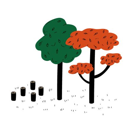 Deforestation with Chopped Woods, Cutting Down of Trees, Global Ecological Problem, Environmental Pollution illustration Vector Illustration on White Background.