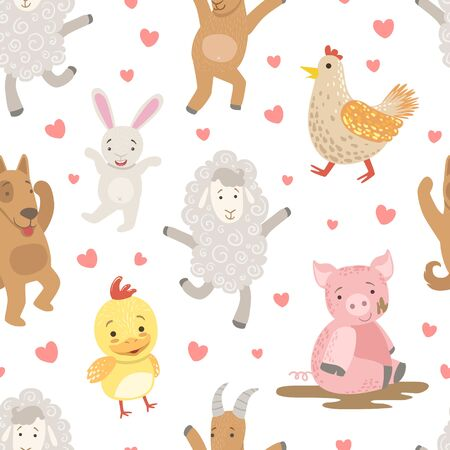 Cute Farm Animals Childish Seamless Pattern, Dog, Pig, Sheep, Chicken, Hen, Design Element Can Be Used for Textile, Wallpaper, Packaging, Background Vector Illustration.