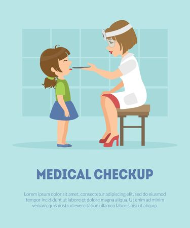 Female Otolaryngologist Examining Girls Throat in Clinic, Doctor Consulting Patient in Medical Office Vector Illustration