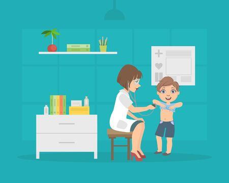 Female Doctor Listening to Chest of Boy with Stethoscope, Pediatrician Consulting Patient in Medical Office Vector Illustration, Web Design. Illusztráció