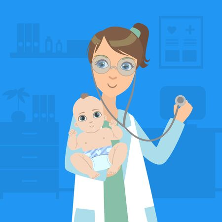 Female Pediatrician Examining Newborn Baby in Clinic, Doctor Consulting Patient in Medical Office Vector Illustration, Web Design. Stock Illustratie