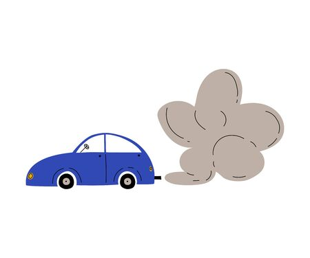 Car with Exhaust Smoke Cloud, Ecological Problem, Air Pollution Vector Illustration Illustration
