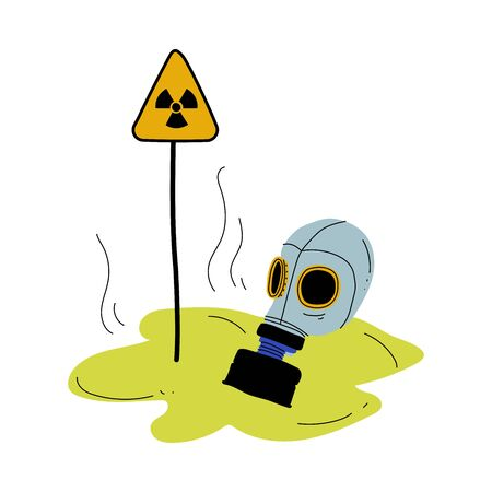 Gas Mask and Warning Triangle Sign of Radiation Hazard, Global Ecological Problem, Environmental Pollution By Chemicals and Industry Waste Vector Illustration