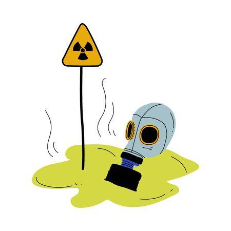 Masque à gaz et signe de triangle d'avertissement de risque de rayonnement, problème écologique mondial, pollution de l'environnement par les produits chimiques et les déchets industriels Illustration vectorielle