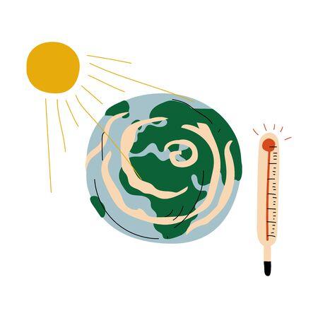 Planeta tierra y termómetro, problema ecológico del calentamiento global ilustración vectorial sobre fondo blanco.