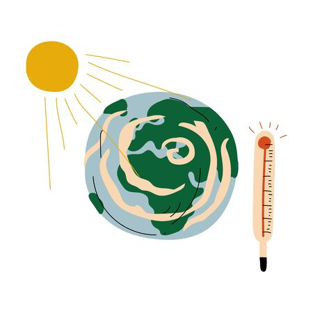 Earth Planet and Thermometer, Global Warming Ecological Problem Vector Illustration on White Background.