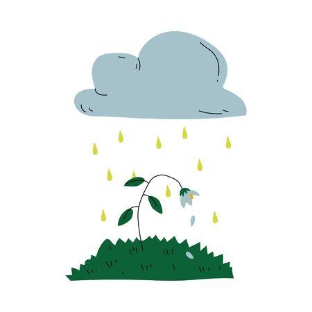Planta que muere bajo la lluvia ácida Problema ecológico global, contaminación ambiental ilustración vectorial sobre fondo blanco.