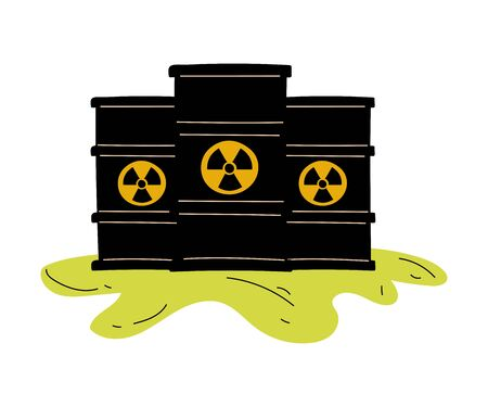 Flowing Barrels of Nuclear Waste, Ecological Problem, Environmental Pollution By Chemicals and Industry Waste Vector Illustration Ilustração