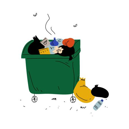 Garbage Container Full of Decaying Rubbish, Waste Processing and Utilization, Ecological Problem Vector Illustration