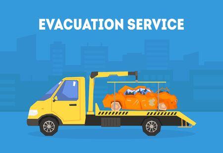 Modello dell'insegna del servizio di evacuazione, carro attrezzi che trasportano automobile alla stazione di riparazione illustrazione vettoriale, Web Design.