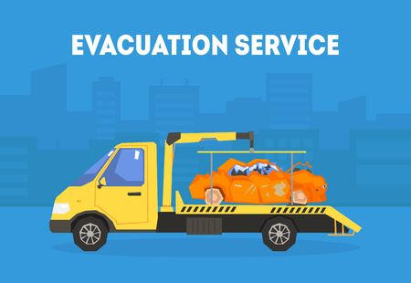 Evacuation Service Banner Template, Tow Truck Transporting Automobile to Repair Station Vector Illustration, Web Design.