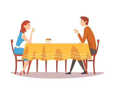 Family Couple Sitting at Kitchen Table, Drinking Tea and Talking to Each Other, Man and Woman Eating Together Vector Illustration