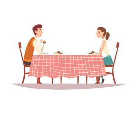 Family Couple Sitting at Kitchen Table with Checkered Tablecloth, Eating and Talking to Each Other Vector Illustration Stock Illustratie