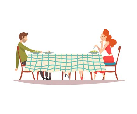 Family Couple Sitting at Kitchen Table with Checkered Tablecloth, Man and Woman Eating Together Vector Illustration on White Background.