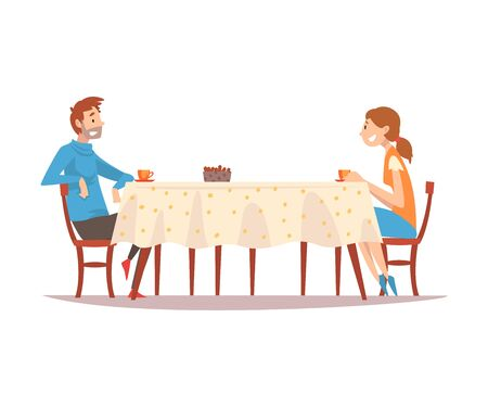 Family Couple Sitting at Kitchen Table and Drinking Tea and Talking Vector Illustration on White Background.