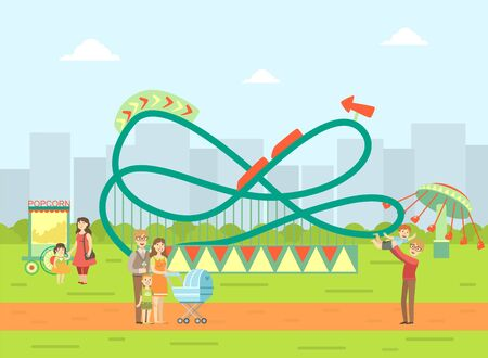 Amusement Park Landscape, Parents and Their Kids Relaxing and Walking in Nature Vector Illustration, Web Design.