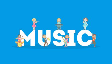 Music Word and Children Singing and Playing Music Instruments Vector Illustration, Web Design.